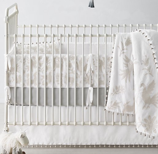 Botanica Embroidered Washed Linen Cotton Nursery Bedding Collection