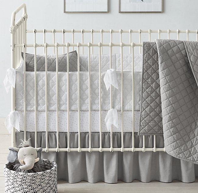 Washed Linen Cotton Diamond Moon Star Grey Nursery Bedding Collection