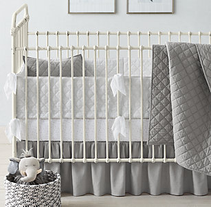 New Washed Linen Cotton Diamond Moon Star Grey Nursery Bedding Collection