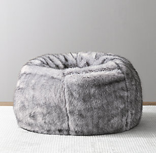 860b86220b Luxe Faux Fur Bean Bag - Grey Wolf