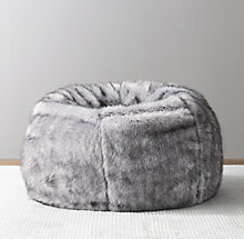 eac33fc1bb Luxe Faux Fur Bean Bag - Grey Wolf
