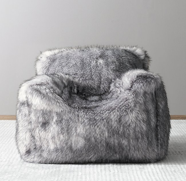 Super Luxe Faux Fur Bean Bag Chair Grey Wolf Squirreltailoven Fun Painted Chair Ideas Images Squirreltailovenorg