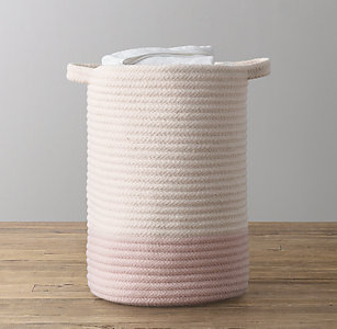 New Colorblock Braided Wool Hamper Ivory Posy