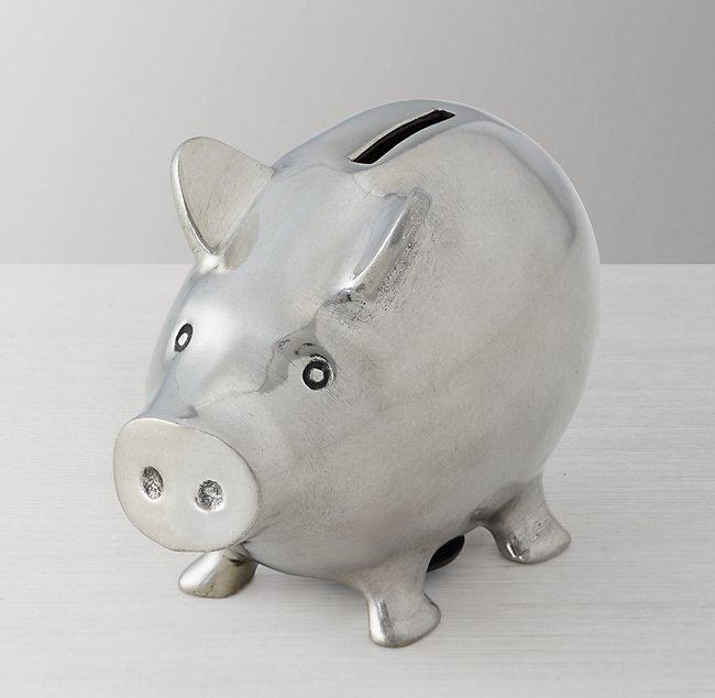 Pewter Heirloom Piggy Bank