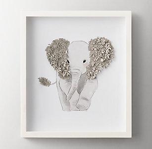 8453e3742 Cut Paper & Watercolor Animal Art - Elephant