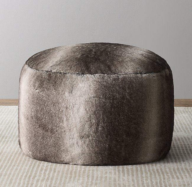 Brilliant Luxe Faux Fur Round Pouf Wolf Pdpeps Interior Chair Design Pdpepsorg