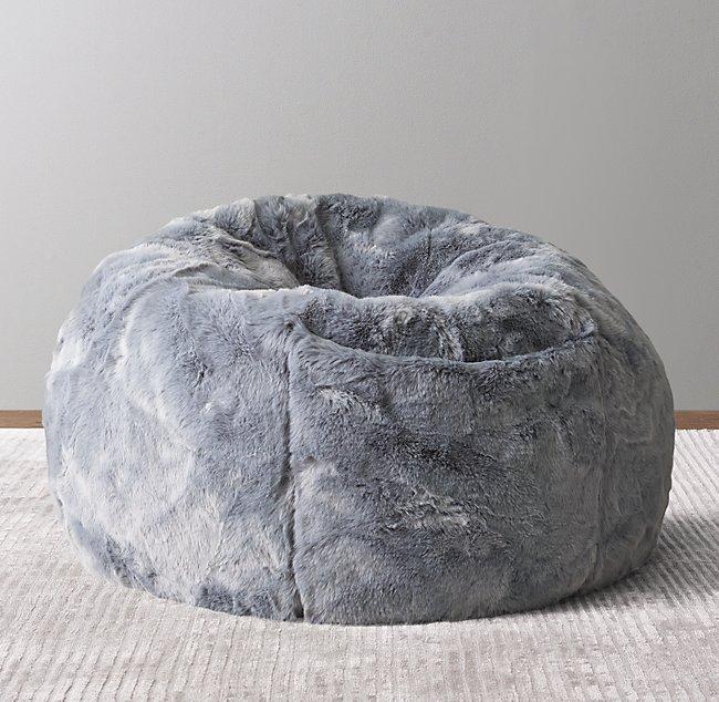 Incredible Luxe Faux Fur Bean Bag Slate Blue Bralicious Painted Fabric Chair Ideas Braliciousco