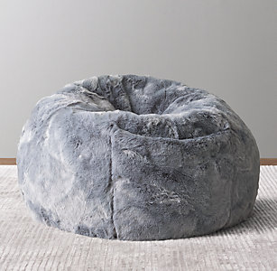 New Luxe Faux Fur Bean Bag Slate Blue
