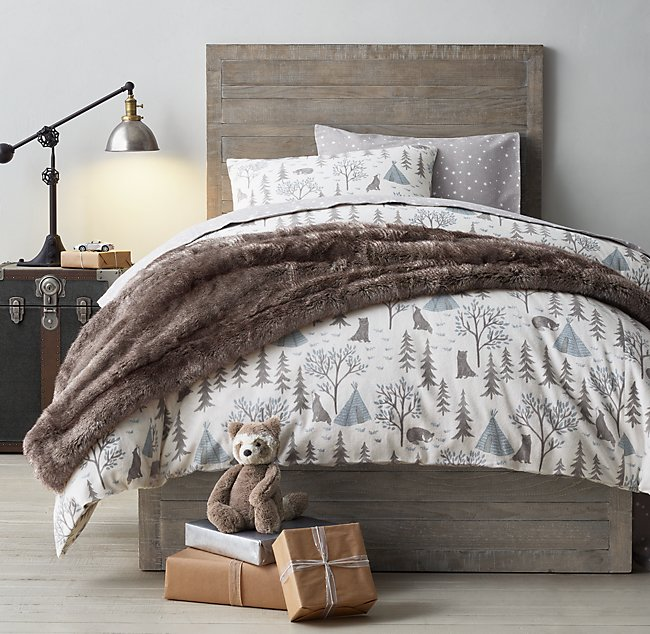Tered Stars Flannel Bedding Collection, Wolf Bed In A Bag Queen