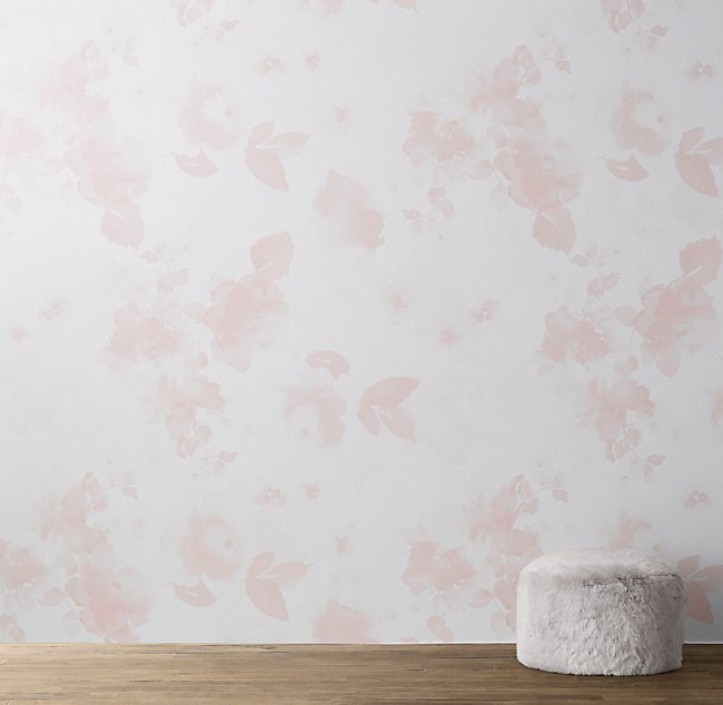 Watercolor Floral Removable Wallpaper Mural Pink