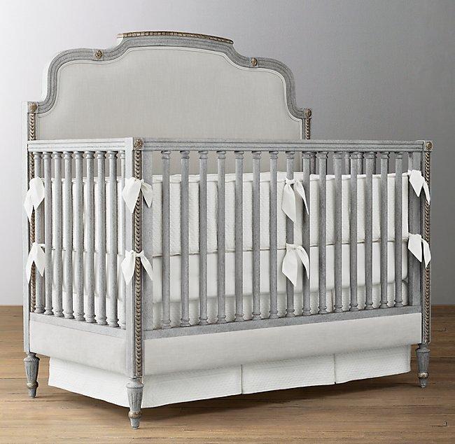 Lucine Upholstered Velvet Conversion Crib Vintage French Grey