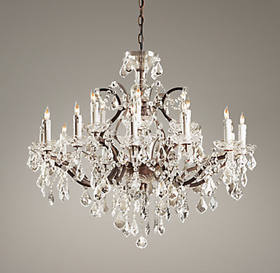 19th C Rococo Iron Amp Crystal Large Chandelier
